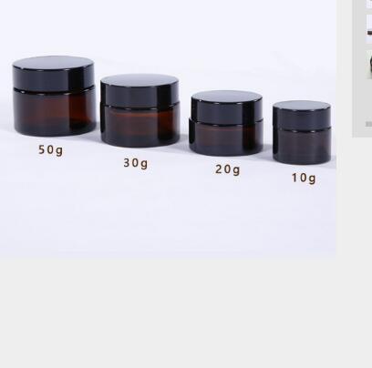10/20/30/50g bocaux en verre rond ambre, contenant cosmétique de bouteille de crème de soin de la peau, avec doublures intérieures et couvercle li416 or/argent/noir