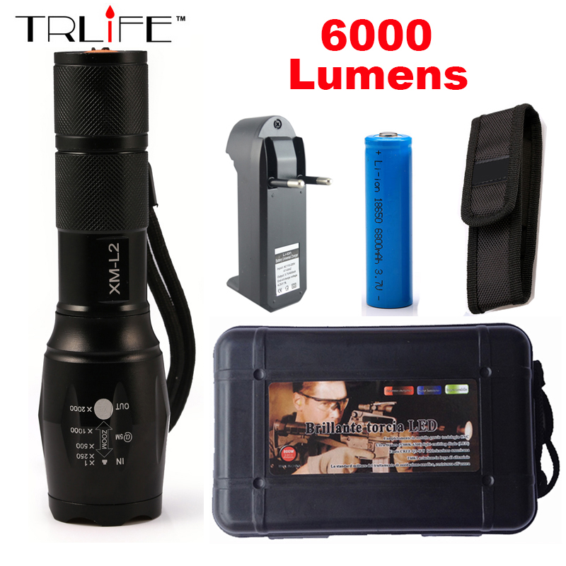 LED flashlight Tactical 6000 Lumens CREE XM-L2 Zoomable 5 Modes Black aluminum alloy LED Flashlights Torch For Camping high quality black torch light mini led flashlight 2000 lumens zoomable 3 modes aluminum alloy led flashlights torch for camping