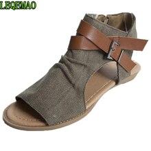 цены на 2019 Womens Summer Sandals Canvas Peep Toe Shoes Open Toe Lace-up Flats Beach Casual Flip Flops  в интернет-магазинах