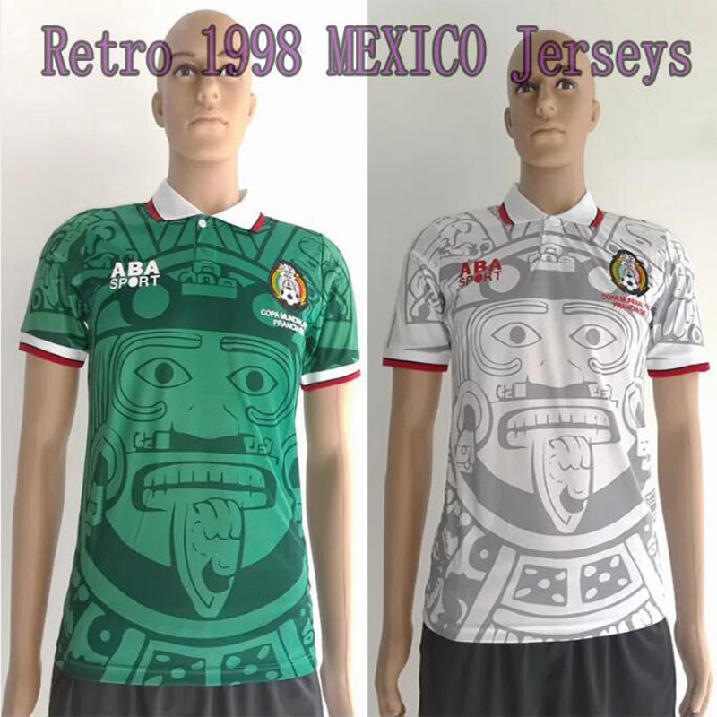 Football Soccer Mexico 1998 Retro Jerseys Commemorative Edition Home Green Away White Mexico Jerseys 1988 Limited Edition