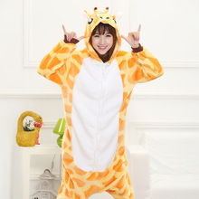 Mother Father Daughter Boy Dresses Family Matching Sleepwear Hooded Pajama Cartoon Animal Yellow giraffe Cosplay Pyjama Pijamas