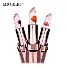 New 1Pc Gold Flower Lipstick Cosmetics 3 Fruit Flavors Temperature Changed Lip Balm Moisturizer Lips Waterproof Lip Stick Makeup