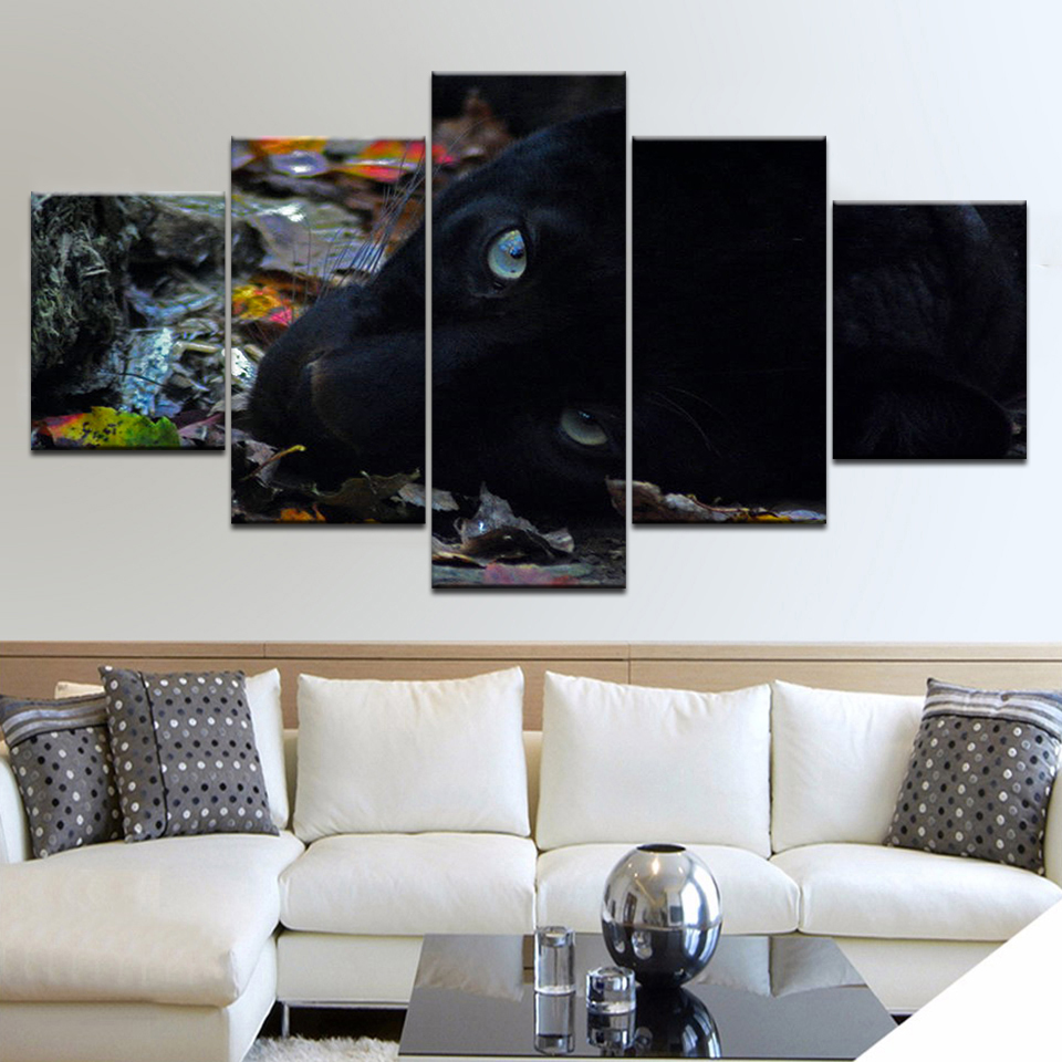Canvas Painting Wall Art Modular Poster Frame 5 Panel Black Leopard Animal HD Printed Modern Pictures Home Decor Living Room in Painting Calligraphy from Home Garden