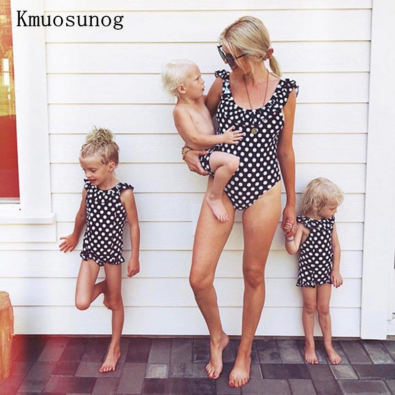 Mother and daughter swimsuit mommy and me swimwear bikini family matching clothes outfits look mom mum baby clothing C0202