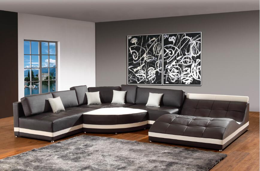Modern corner leather sofas for sofa set living room for Sofas de piel economicos