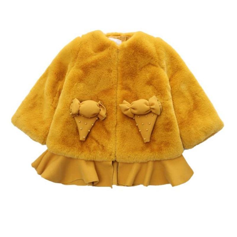 DFXD Korean Style Children Girls Thick Fur Coat Fashion Winter Long Sleeve Soild Bead Zipper Warm Coat Kids Girl Outwear 4-13Y