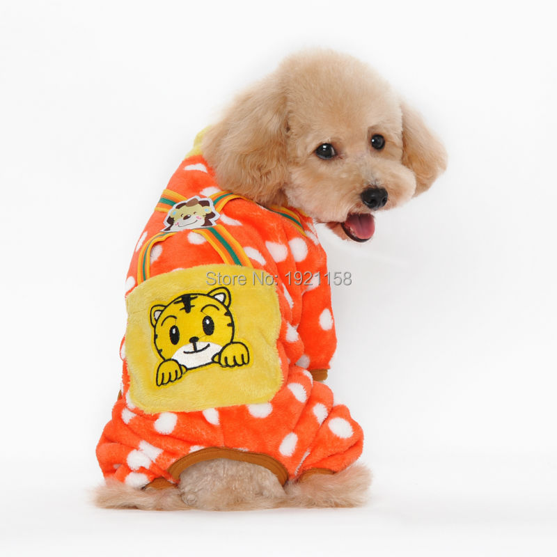 New Warm Pet dog cotton clothes Winter Lovely Tiger pattern dot dog coat clothes four legs