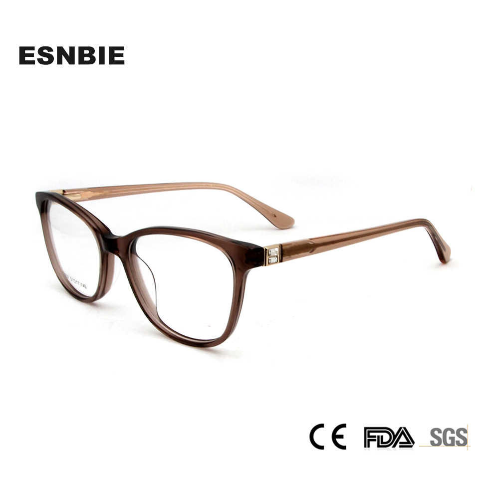 4c255f26591c ESNBIE Acetate Eye Glasses Frame for Women Luxury Diamond Women s  Prescription Eyewear Myopia Frame Reading Glasses