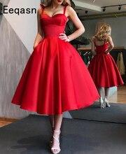Zarif kırmızı kısa kokteyl elbiseleri kadın saten parti elbise diz boyu bir çizgi Robe de kokteyl 2019 balo elbisesi