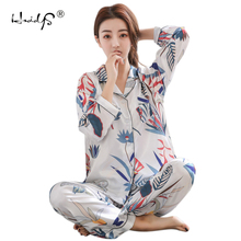 Spring Autumn Women Silk Pajamas Set Womens Winter Pijama Silk Long Sleeve Pajamas Sets Nightgowns Pyjama Sleep Femme Homewear