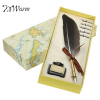 KiWarm Antique Quill Feather Dip Pen Writing Ink Set Stationery Gift Box With 5 Nib Wedding