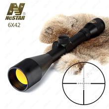 Hunting Rifle Scope 6X42 P4 Francotirador Tamaño Completo Fijo Ampliación 6X Táctico Mira Óptica Revestimiento de Rubí