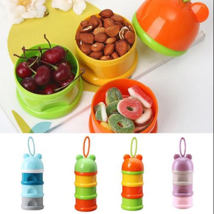 Flaschenzuführung 3 Schichten Tragbare Tier Kopf Cartoon Milch Pulver Formel Dispenser Bunte Infant Fütterung Lebensmittel Container Baby Lebensmittel Lagerung Box