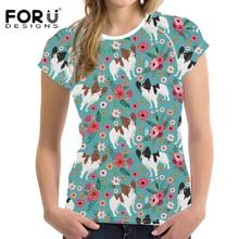 FORUDESIGNS Funny T Shirt Women Papillon Print T-shirt Teenagers Flower Pattern Floral Tees for Female Girl Cartoon Tee
