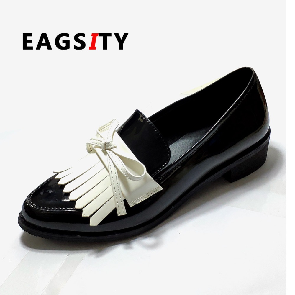 Aliexpress.com : Buy EAGSITY black white penny loafers for ...