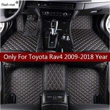 Flaş mat deri araba paspaslar Toyota Rav4 2009 2014 2015 2016 2017 2018 özel oto ayak pedleri otomobil halı kapak