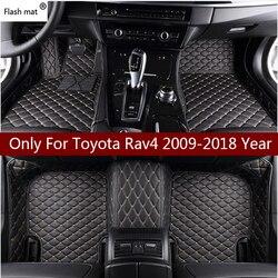 Flash mat leather car floor mats for Toyota Rav4 2009-2014 2015 2016 2017 2018 Custom auto foot Pads automobile carpet cover