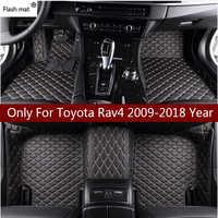 Flash tapis en cuir tapis de sol de voiture pour Toyota Rav4 2009-2014 2015 2016 2017 2018 Personnalisé auto patins automobile tapis couverture
