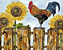 The oil painting chicken diy mosaic diamond painting cross stitch square drill pasted full diamond embroidery animals painting