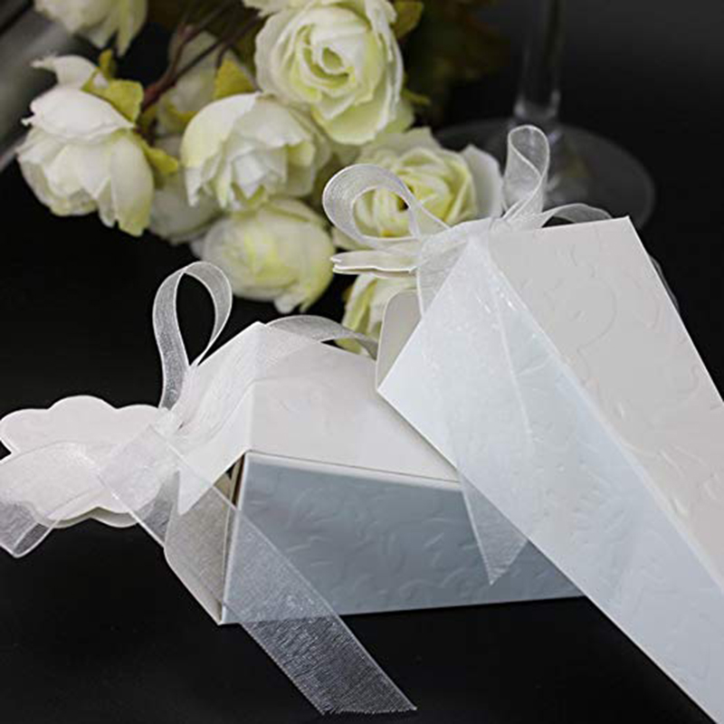Cone Shaped Paper Candy Box With Ribbons Wedding Favors For Guests Gift Box Packaging Baby Shower Birthday Party Decoration