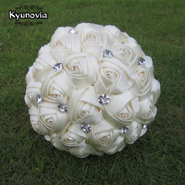 Kyunovia Custom Satin Rose Bouquet Rhinestones Ribbon Wedding Flowers Ivory Bridal Bouquets Diy
