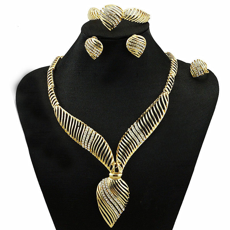 NEW ARRIVEL free shipping african jewelry sets high quality wedding party jewelry setS gold fine jewelry women necklace