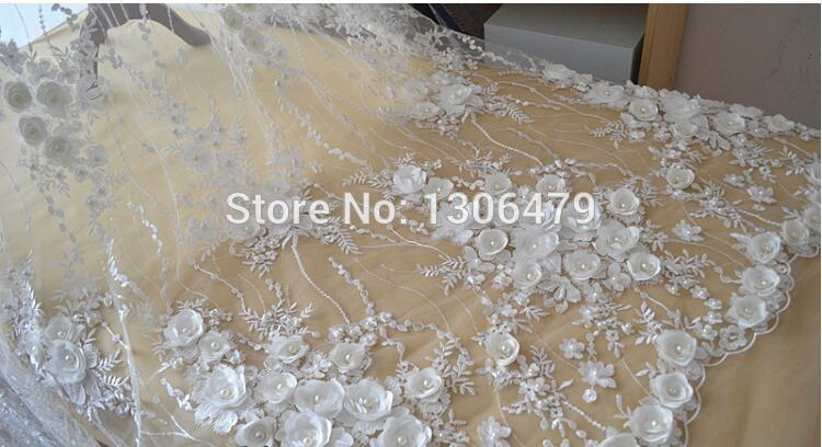 Image 5 - Ivory White Wedding Dress Lace Fabric, 3D Chiffon Flowers Nail 
