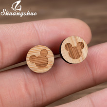 Shuangshuo New Cute Wooden Micky Minnie Stud Earrings Girls Fashion Jewelry Cartoon Mouse Statement Earrings for Women Bijoux(China)
