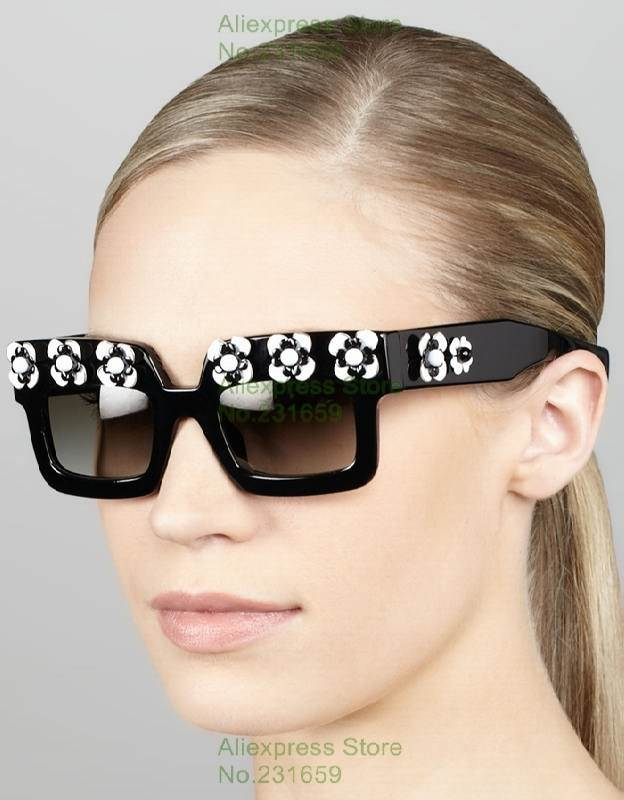 0a56e74bef37b 2014 NEW Brand Black and white Flower Embellished Square Lady and Girl  appliques Party Oculos quality original Sunglasses