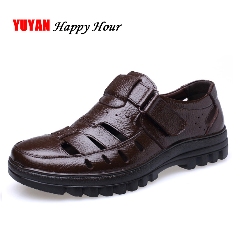 Sandals Men Footwear Summer Shoes Genuine-Leather Casual Non-Slip Soft Brand ZHK289