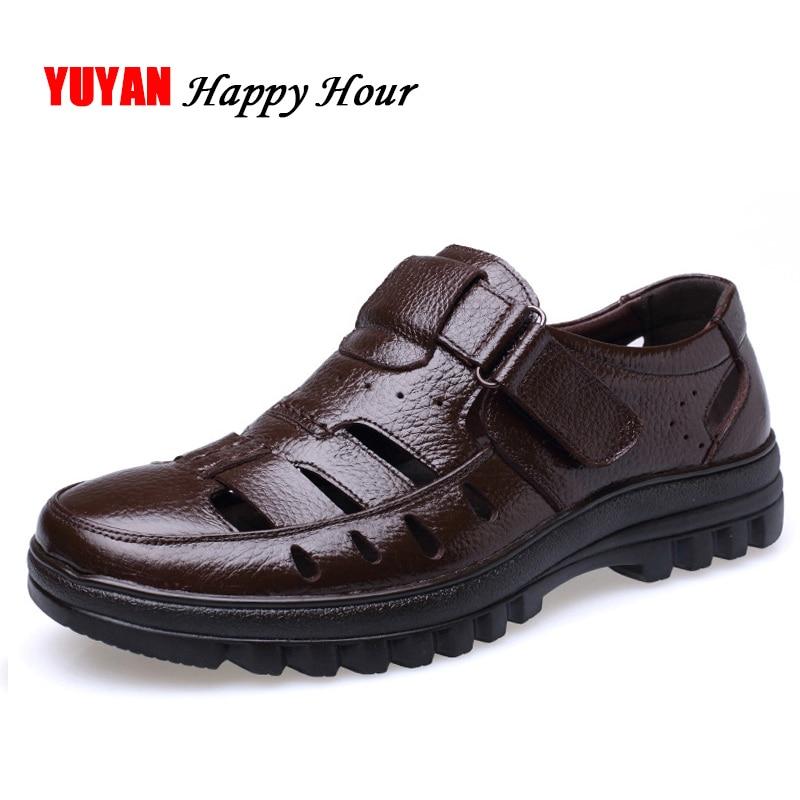 Genuine Leather Sandals Men Summer Shoes Non-slip Men's Sandals Soft Casual Brand Footwear ZHK289