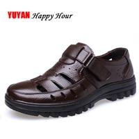 Genuine Leather Sandals Men Summer Shoes Non slip Men's Sandals Soft Casual Brand Footwear ZHK289