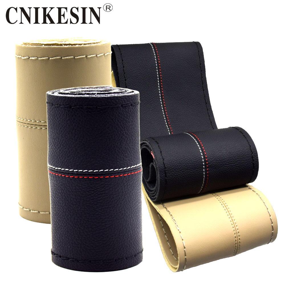 CNIKESIN DIY steering-wheel Covers 36 38cm Leather Car Steering Wheel Cover Wear Sesistant With Needles Thread Fit For All Cars