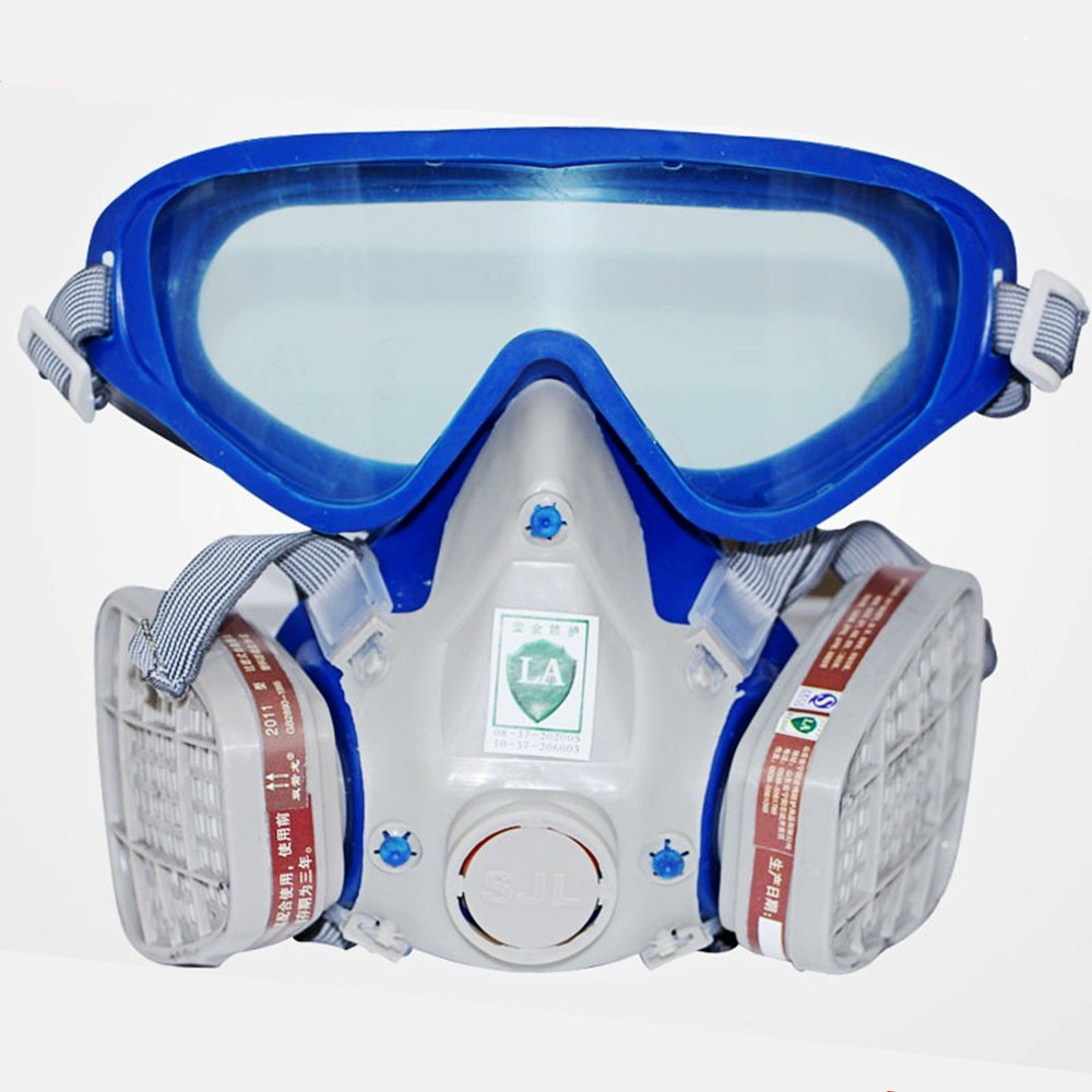 Pro Full Gas Mask Respirator with Goggles Anti-Gas Anti-Dust Chemical Protective Mask Activated Carbon Fire Escape Breathing Set new safurance protection filter dual gas mask chemical gas anti dust paint respirator face mask with goggles workplace safety