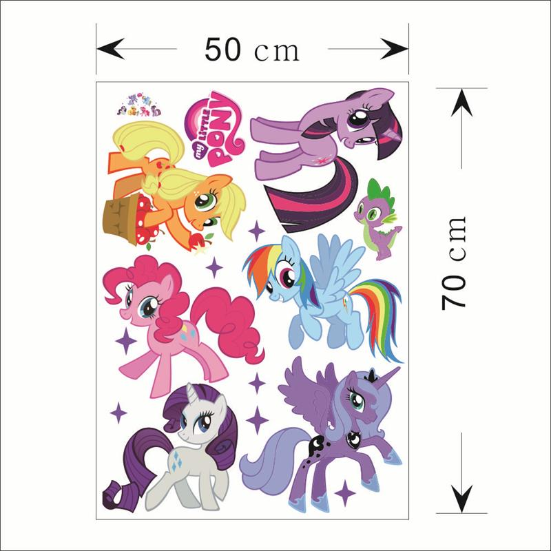 New Home Decor Pvc My Little Pony 6 Ponies Wall Stickers Decal For Kids Room Cute Animal Cartoon Gift Diy Free Shipping In From