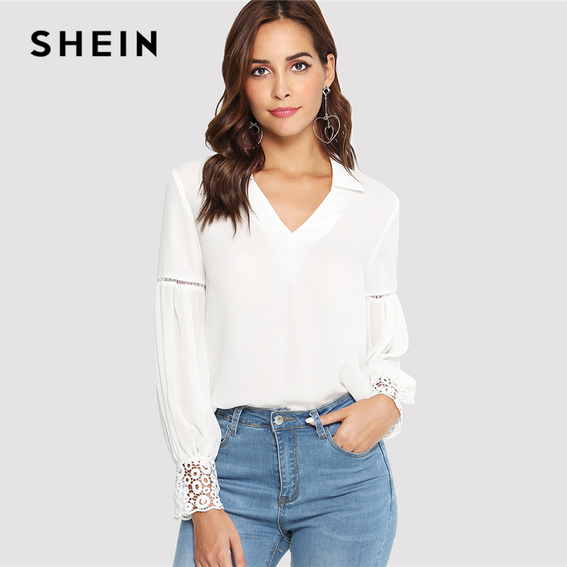 SHEIN Laser Cut Insert Guipure Lace Cuff Blouse White V Neck Long Sleeve Cut Out Tops Women Autumn Elegant Workwear Shirt
