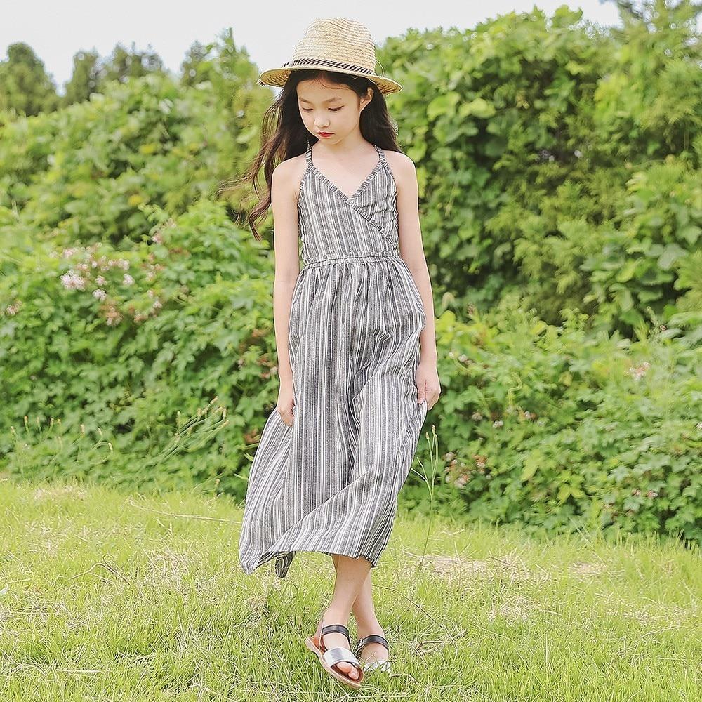 maxi long little girl summer dresses 2018 striped teenage ...