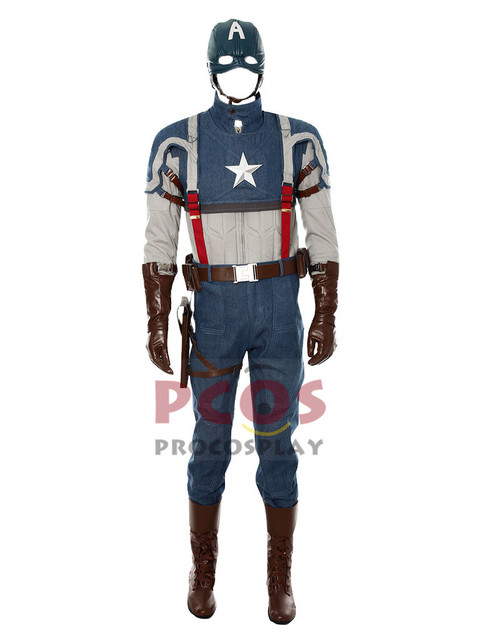 Deluxe Captain America: The First Avenger Steve Rogers Cosplay Costume &  Shoes mp002515