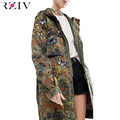 RZIV 2016 mulheres jaqueta militar casacos e jaqueta bolso bordado longa seção de borboleta decorativo jaqueta camuflada