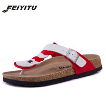 FeiYiTu Woman Fashion Cork Flip Flops Slippers Flat with 2018 New Women Summer Beach Casual Buckle Patchwork Slides Slipper Shoe