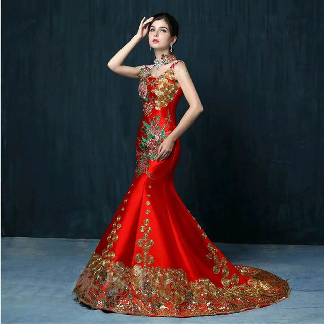 Free Shipping Luxury Red Embroidery Trailing Evening Dress Bride Wedding Qipao Cheongsam Chinese Oriental Dresses Traditional