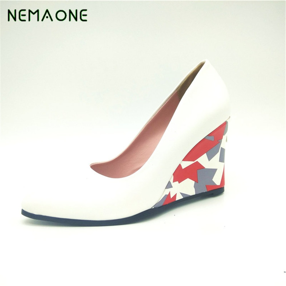 NEMAONE big size 34-43 black white blue pink women pumps wedges high heels shoes pointed toe wedding shoes woman