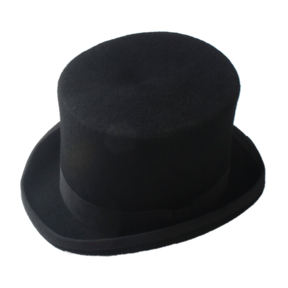 17cm(6.67inch) Black !00% Wool Top Hat Women Men Chapeau Fedora Hat Felt  Vintage Trational Party Church Hats DIY Steampunk Hat 9d1dd3006f81