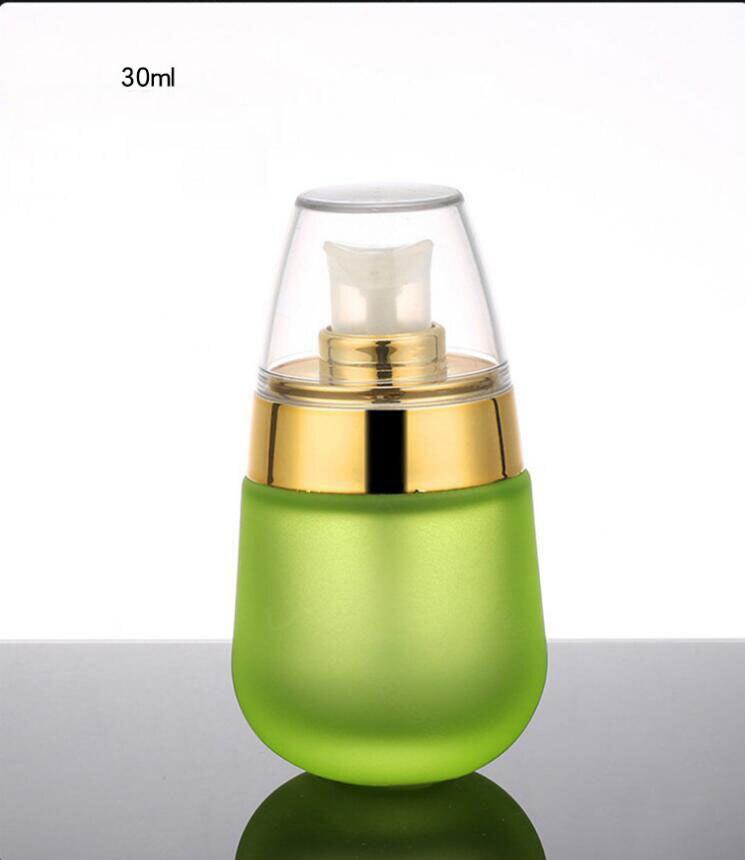 Skin Toner Suit Empty Bottle Silver Gold Carved lid Green Emulsion Bottle Glass Cream Lotion Pump 30ml 50ml 120ml 30g 50g (16)