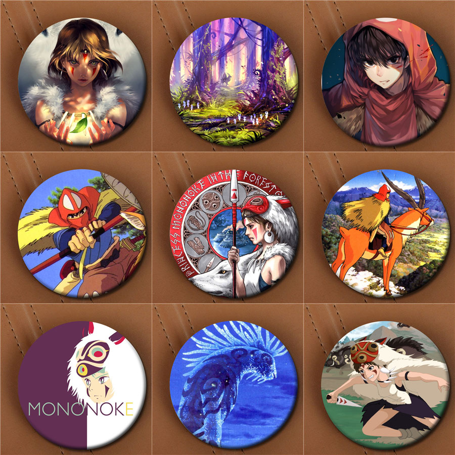 Youpop Japanese Anime Princess Mononoke Album Brooch Fashion Pin Badge Accessories For Clothes Hat Backpack Decoration XZ0020