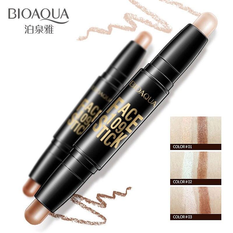 Bioaqua бренд Уход за кожей лица Макияж Корректоры для лица ручки multi эффект двойной головкой 3D бронзатор хайлайтер-стик текстура карандаш контурный Основа для макияжа лица