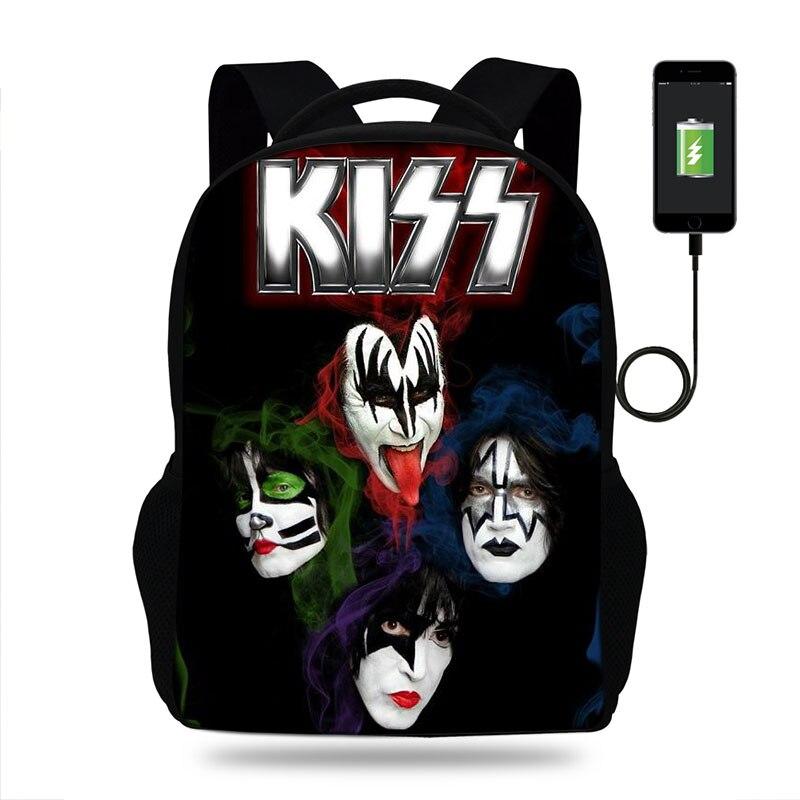 Cool Kiss Rock Band Print Backpack For Teenage Boys Children USB School Bags Men Women Bag Rock Laptop Backpack Kids Book Bag