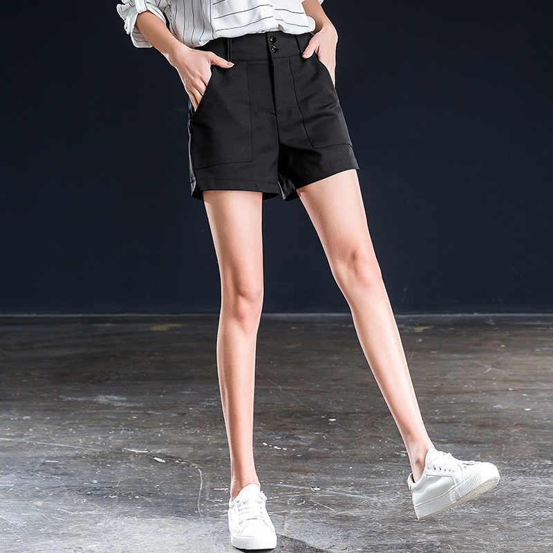 Shangege czarny denim krótkie kobiece lato 2019 nowy wysokiej talii koreański luźne dwie klamry wear kolano długość
