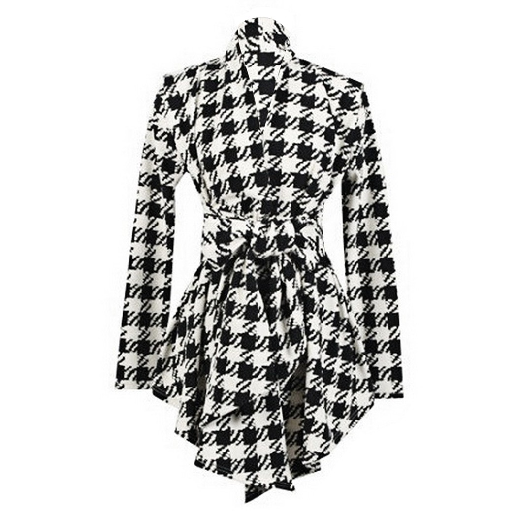 Alishebuy Long Sleeve Ladies Coat Lapel Collar Cardigan Casual Tops Personality font b Belt b font