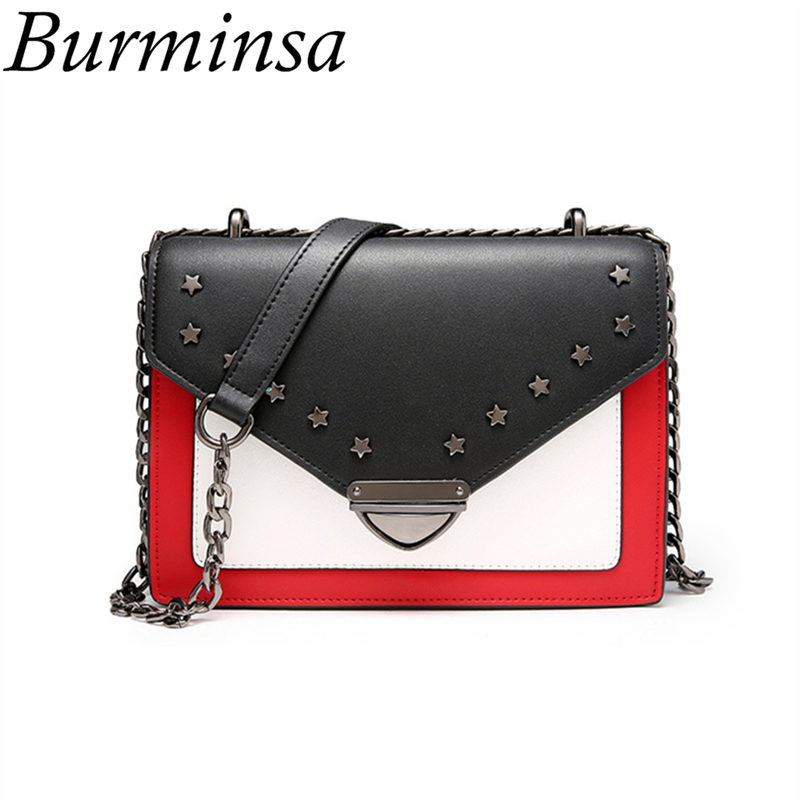 Burminsa Brand Star Rivet Genuine Leather Bags Ladies Shoulder Messenger Bags Designer Chain Hand Bags Crossbody Bags For Women genuine leather women messenger bags rivet small flap shoulder bag crossbody bags designer brand ladies female clutch hand bags